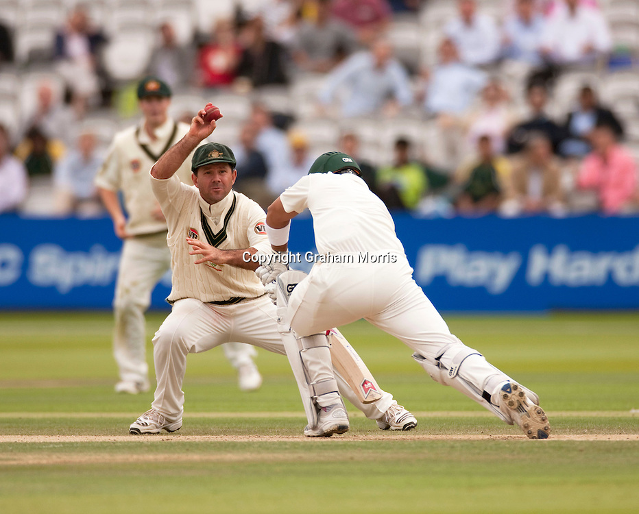 Captain Ricky Ponting fields off Kamran Akmal during the MCC Spirit of Cricket Test Match between Pakistan and Australia at Lord's.  Photo: Graham Morris (Tel: +44(0)20 8969 4192 Email: sales@cricketpix.com) 16/07/10
