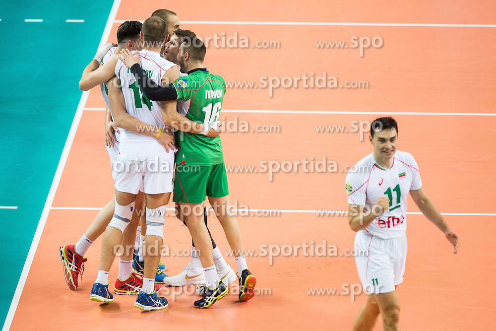 Players of Bulgaria celebrate during volleyball match between National teams of France and Bulgaria in 2nd Semifinal of 2015 CEV Volleyball European Championship - Men, on October 17, 2015 in Arena Armeec, Sofia, Bulgaria. Photo by Vid Ponikvar / Sportida