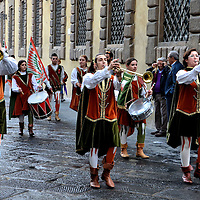 Flag Bearers and Musicians Parade in Lucca, Italy<br />