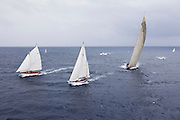 Astor, Galatea, and Velsheda sailing in the 2010 Antigua Classic Yacht Regatta, Butterfly Race, day 2.