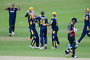 Hampshire celebrate the  wicket of Jim Alllenby during the Royal London One Day Cup match between Hampshire County Cricket Club and Somerset County Cricket Club at the Ageas Bowl, Southampton, United Kingdom on 2 August 2016. Photo by David Vokes.