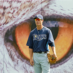 March 22, 2012; Bradenton, FL, USA; Tampa Bay Rays outfielderTodd Glaesman stands in right field during batting practice before a spring training game against the Pittsburgh Pirates at McKechnie Field. Mandatory Credit: Derick E. Hingle-US PRESSWIRE