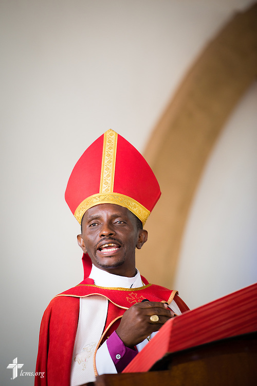Led by Bishop Emmanuel Makala preaches during a service with more than 1,000 worshippers on Sunday, March 15, 2015, at the Evangelical Lutheran Church in Tanzania – South-East of Lake Victoria Diocese's (ELCT-SELVD) Ebenezer Cathedral in Shinyanga, Tanzania. LCMS Communications/Erik M. Lunsford