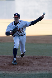 Virginia Cavaliers pitcher/firstbaseman Sean Doolittle (21) pitching against Bucknell.  The Virginia Cavaliers Baseball Team defeated the Bucknell University Bison 2-0 at Davenport Field in Charlottesville, VA on February 23, 2007.
