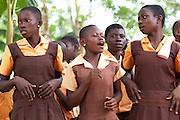School student put on a play at Mbaem community school, Ghana.