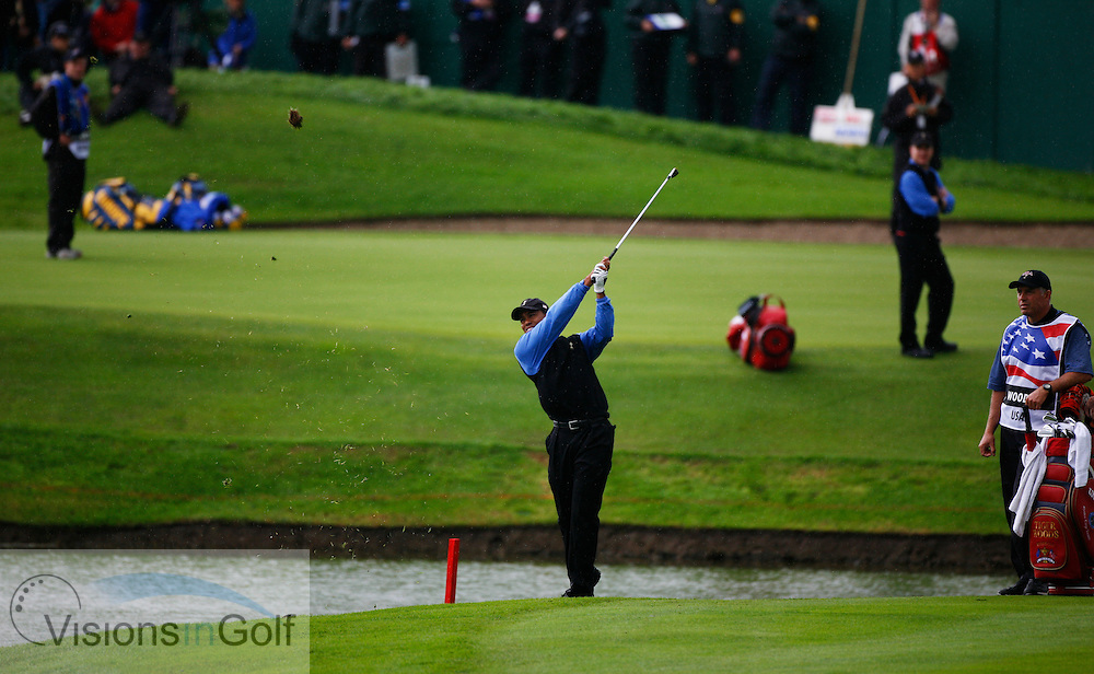 Tiger Woods after going in the water on the 15th hole on the second morning at the 36th Ryder Cup Matches 2006, K Club, Ireland, 060922<br /> Picture Credit: Mark Newcombe / visionsingolf.com