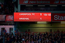 LIVERPOOL, ENGLAND - Saturday, December 29, 2018: Liverpool's scoreboard records the 5-1 victory over Arsenal during the FA Premier League match between Liverpool FC and Arsenal FC at Anfield. (Pic by David Rawcliffe/Propaganda)