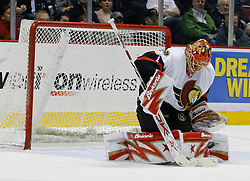 Apr 3, 2007; East Rutherford, NJ, USA; Ottawa Senators goalie Ray Emery (1) makes a save during the first period at Continental Airlines Arena in East Rutherford, NJ.