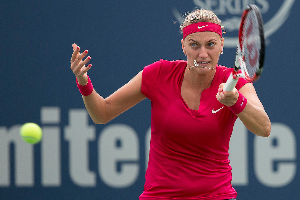 August 23, 2014, New Haven, CT:<br /> Petra Kvitova hits a forehand during the singles final against Magdalena Rybarikova on day nine of the 2014 Connecticut Open at the Yale University Tennis Center in New Haven, Connecticut Saturday, August 23, 2014.<br /> (Photo by Billie Weiss/Connecticut Open)