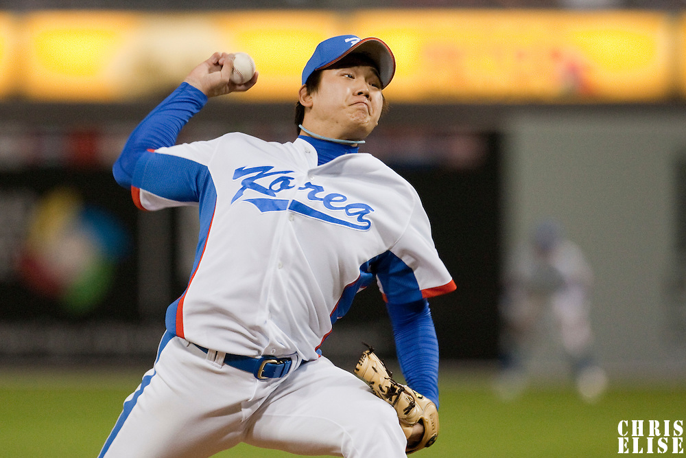 19 March 2009: #32 Tae Hoon Im of Korea pitches against Japan during the 2009 World Baseball Classic Pool 1 game 6 at Petco Park in San Diego, California, USA. Japan wins 6-2 over Korea.