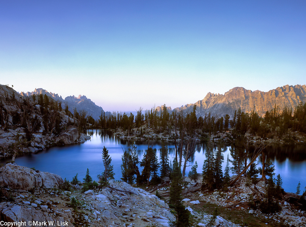 Looking down the Redfish Creek drainage from Kathyrn Lake, Sawtooth Wilderness, Idaho.
