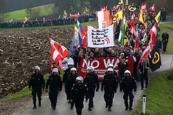 Licensed to London News Pictures. 15/11/2015. Spielfeld, Austria. Anti-migrant protest in Spielfeld, Austria. Several hundred rally against migrants at Austria's border with Slovenia. Photo: Marko Vanovsek/LNP