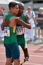 05/08/2017; Ruan de Moraes, Thomaz, F47, BRA, Mahlangu, Ntando, F42, RSA at 2017 World Para Athletics Junior Championships, Nottwil, Switzerland
