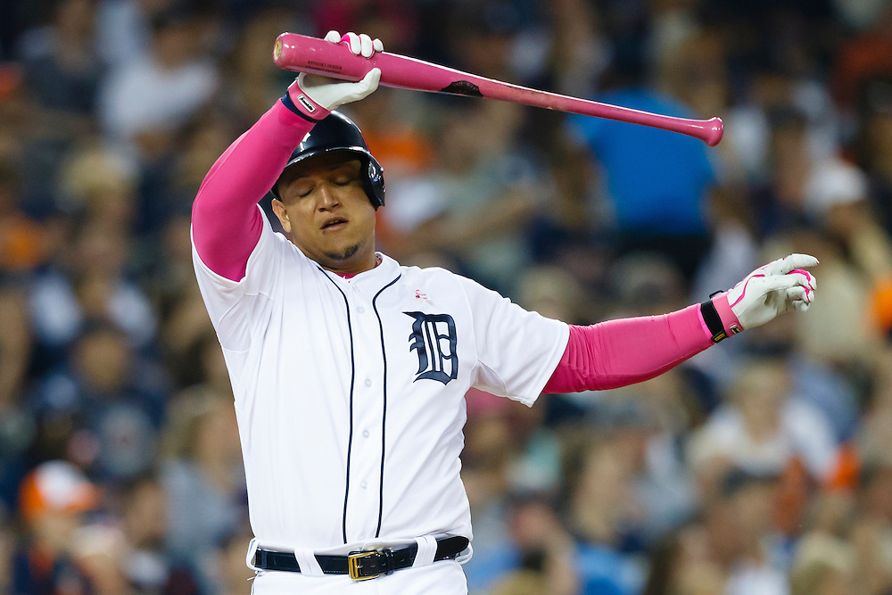 May 10, 2015; Detroit, MI, USA; Detroit Tigers first baseman Miguel Cabrera (24) reacts after lining out in the third inning against the Kansas City Royals at Comerica Park. Mandatory Credit: Rick Osentoski-USA TODAY Sports
