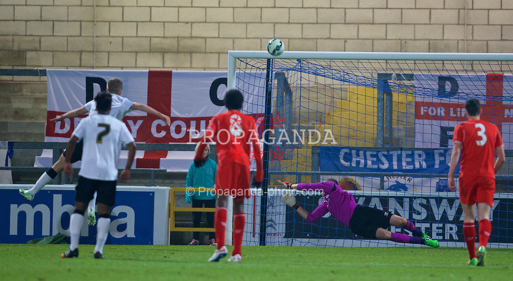 CHESTER, ENGLAND - Wednesday, January 21, 2015: Liverpool's goalkeeper Andy Firth saves a penalty from Derby County's Charles Vernam [hidden] during the FA Youth Cup 4th Round match at the Deva Stadium. (Pic by David Rawcliffe/Propaganda)