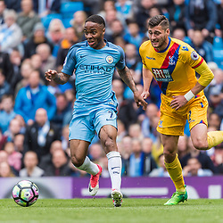 Manchester City midfielder Raheem Sterling (7) on the ball tracked by Crystal Palace defender Joel Ward (2) in the English Premier League match between Manchester City and Crystal Palace<br /> (c) John Baguley | SportPix.org.uk