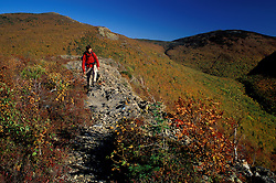 Baxter State Park, ME. A hiker on Traveller Mountain in fall. Northern Forest. Hiking.