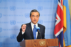 April 28, 2017 - New York, United States - A press conference with Mr. Wang Yi, Minister for Foreign Affairs, People's Republic of China at the UN headquarters in New York. (Credit Image: © Luiz Roberto Lima/Pacific Press via ZUMA Wire)
