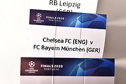 NYON, SWITZERLAND - Friday, July 10, 2020: The card of Chelsea FC and FC Bayern Munich pictured before being put into a draw ball during the UEFA Champions League and UEFA Europa League 2019/20 draws for the Quarter-final, Semi-final and Final at the UEFA headquarters, The House of European Football. (Photo Handout/UEFA)