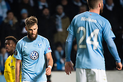 February 14, 2019 - MalmÃ, Sweden - 190214 Rasmus Bengtsson of Malmö FF looks dejected after the Europa league match between Malmö FF and Chelsea on February 14, 2019 in Malmö..Photo: Ludvig Thunman / BILDBYRÃ…N / kod LT / 92225 (Credit Image: © Ludvig Thunman/Bildbyran via ZUMA Press)