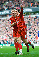 LIVERPOOL, ENGLAND - Sunday, March 30, 2008: Liverpool's Fernando Torres celebates opening the scoring with team-mate Dirk Kuyt against Everton during the 207th Merseyside derby, in the Premiership match at Anfield. (Photo by David Rawcliffe/Propaganda)