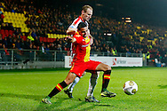 27-10-2015 VOETBAL: GO AHEAD EAGLES-WILLEM II:DEVENTER<br /> KNVB Beker<br /> Chris David van Go Ahead Eagles in duel met Frank van der Struijk van Willem II <br /> <br /> Foto: Geert van Erven