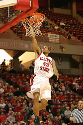 19 November 2005: Dana Ford takes a lazy up shot off a fast break. In a non-conference race that came down to a photo finish, the Illinois State Redbirds slipped past the Indianapolis University Greyhounds 54-50 at Redbird Arena in Normal Illinois