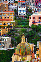 """Evening falls on the cross and dome of Santa Maria Assunta in Positano"" ...<br />