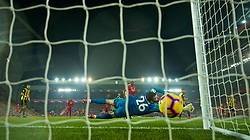 LIVERPOOL, ENGLAND - Wednesday, February 27, 2019: Watford's goalkeeper Ben Foster its beaten as Liverpool's Divock Origi (hidden) scores the third goal during the FA Premier League match between Liverpool FC and Watford FC at Anfield. (Pic by Paul Greenwood/Propaganda)