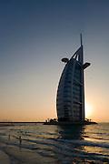 Jumeirah, Burj Al Arab, the World's most luxurious hotel. Sunset view from Jumeirah Beach.