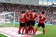 Cardiff city's players celebrate with scorer Craig Bellamy (39) after he scores the 1st  goal. NPower championship, Cardiff city v Leeds United at the Cardiff city stadium in Cardiff, South Wales on Sat 15th Sept 2012.   pic by  Andrew Orchard, Andrew Orchard sports photography,