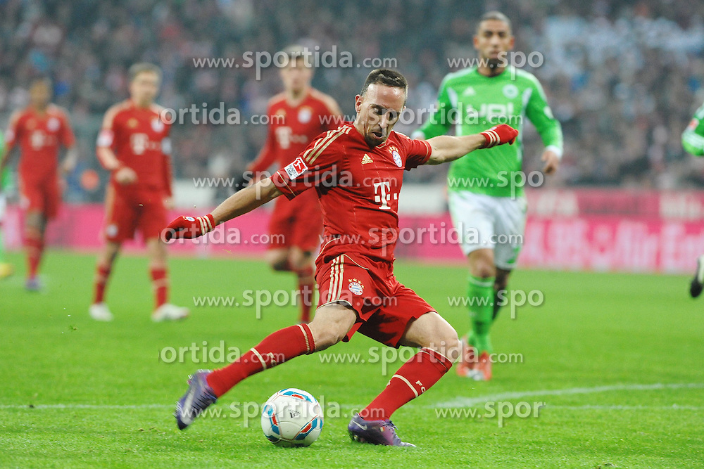 "28.01.2012, Allianz Arena, Muenchen, GER, 1. FBL, Bayern Muenchen vs VFL Wolfsburg, 19. Spieltag, im Bild Franck RIBERY (FC Bayern Muenchen). Franck RIBERY (FC Bayern Muenchen) Freisteller // during the football match of the german ""Bundesliga"", 19th round, between GER, 1. FBL, Bayern Munich and VFL Wolfsburg, at the Allianz Arena, Munich, Germany on 2012/01/28. EXPA Pictures © 2012, PhotoCredit: EXPA/ Eibner/ Wolfgang Stuetzle..***** ATTENTION - OUT OF GER *****"