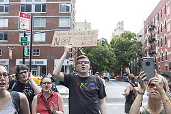 August 19, 2017 - New York, New York, United States - People protest against racism, bigotry, neo-nazis, President Donald Trump on street next to Google New York office. (Credit Image: © Lev Radin/Pacific Press via ZUMA Wire)