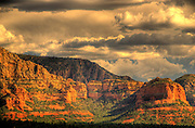 Najestic Sedona Scenic. USA, Arizona. Moody Red mountain formations. Rain storms brewing.