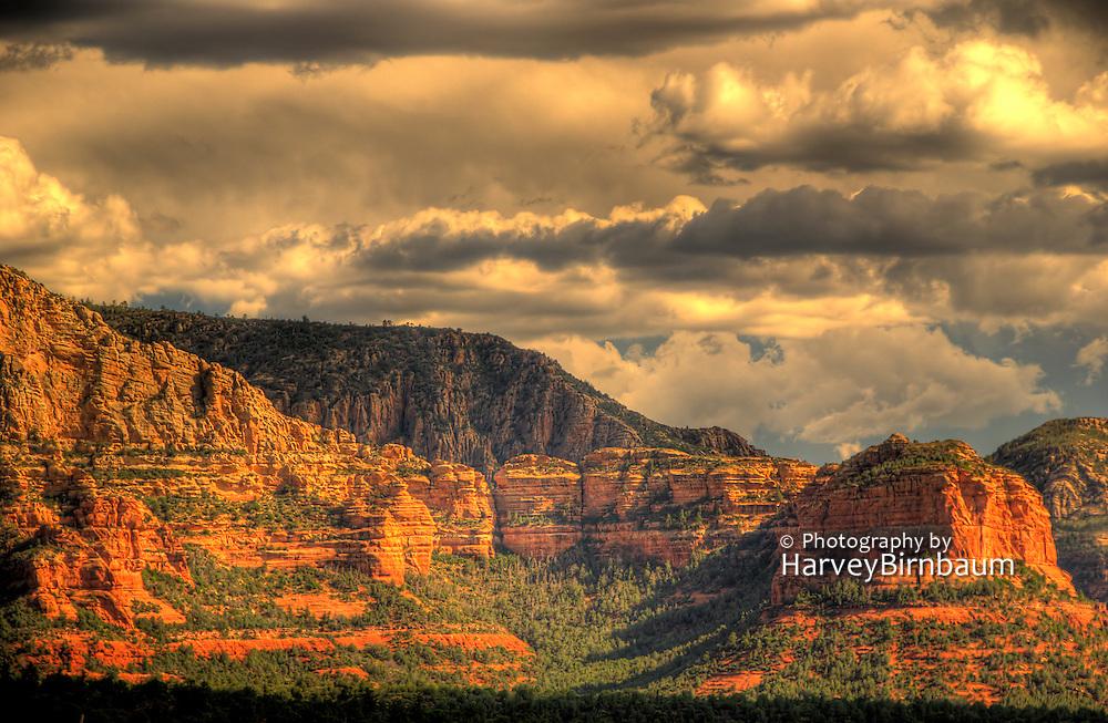Najestic Sedona Scenic. USA, Arizona. Moody Red mountain formations. Rain storms brewing.