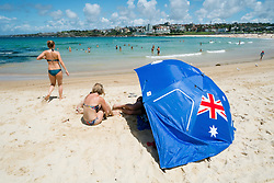 Blue shelter with AUstralian flag on Bondi Beach in Sydney New South Wales in Australia