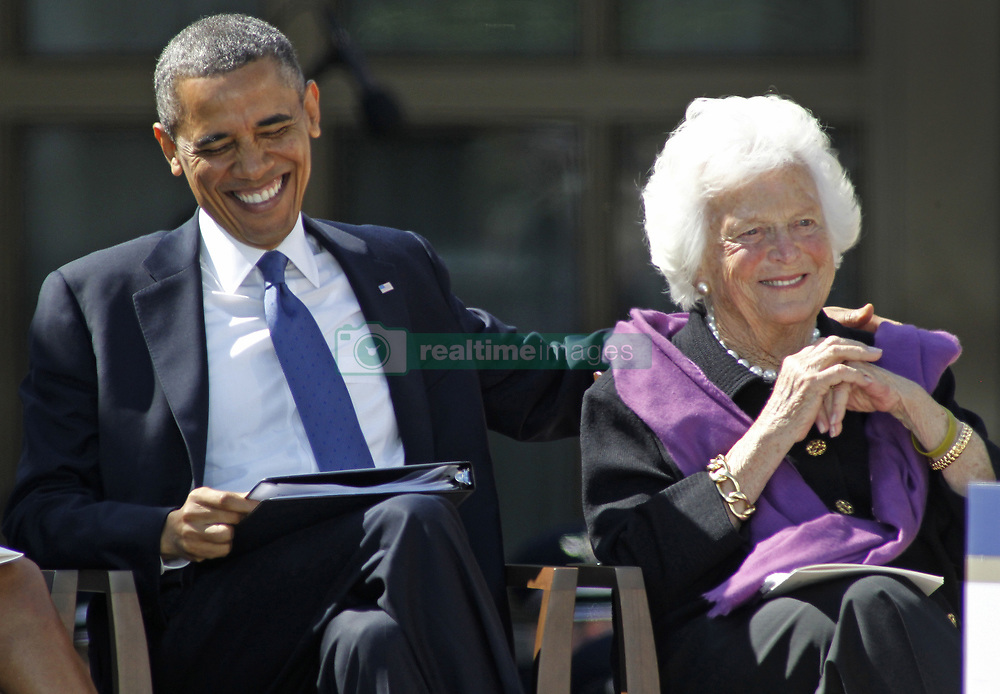 April 16, 2018 - (File Photo) - Former first lady Barbara Bush was reported in failing health and has decided not to seek further medical treatment, a family spokesman says. PICTURED:April 25, 2013 - Dallas, Texas, U.S. - President BARACK OBAMA pats BARBARA BUSH on the back during the dedication ceremonies for the new G. W. Bush Presidential Center. (Credit Image: © Paul Moseley/TNS/ZUMAPRESS.com)