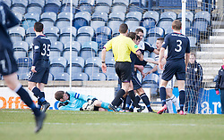 Falkirk's keeper Michael McGovern saves.<br /> Raith Rovers 2 v 4 Falkirk, Scottish Championship game today at Starks Park.<br /> &copy; Michael Schofield.