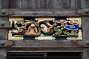 """The young monkeys looking up to the blue clouds signifies their ambition."" Hidari Jingoro may have carved these panels to incorporate Confucius's Code of Conduct, using the monkey as a way to depict man's life cycle. Art work on storehouse in Toshogu shrine in Nikko, Japan. The monkeys are Japanese macaques, a common species in Japan. Toshogu Shrine is the final resting place of Tokugawa Ieyasu, the founder of the Tokugawa Shogunate that ruled Japan for over 250 years until 1868. Ieyasu is enshrined at Toshogu as the deity Tosho Daigongen, ""Great Deity of the East Shining Light"". Initially a relatively simple mausoleum, Toshogu was enlarged into the spectacular complex seen today by Ieyasu's grandson Iemitsu during the first half of the 1600s. The lavishly decorated shrine complex consists of more than a dozen buildings set in a beautiful forest. Toshogu contains both Shinto and Buddhist elements, as was common until the Meiji Period when Shinto was deliberately separated from Buddhism. Toshogu is part of Shrines and Temples of Nikko UNESCO World Heritage site."