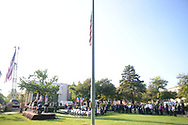 A large crowd gathers for a 9/11 ceremony at the Global War on Terrorism Memorial Monday September 11, 2017 at old Bucks County Courthouse in Doylestown, Pennsylvania. (Photo by William Thomas Cain)