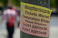 General view of the exterior of the stadium showing a lamppost with a sticker attached seeking tickets pictured ahead of the UEFA Champions League Final at Estádio da Luz, Lisbon<br /> Picture by Ian Wadkins/Focus Images Ltd +44 7877 568959<br /> 24/05/2014