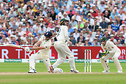 Wicket - James Anderson of England skies the ball in the air and is caught off the bowling of Nathan Lyon of Australia during the International Test Match 2019 match between England and Australia at Edgbaston, Birmingham, United Kingdom on 3 August 2019.