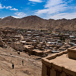 Leh is the capital city of Ladakh.  Upper Leh is mostly green farms while lower Leh is full of busy small streets and shops.