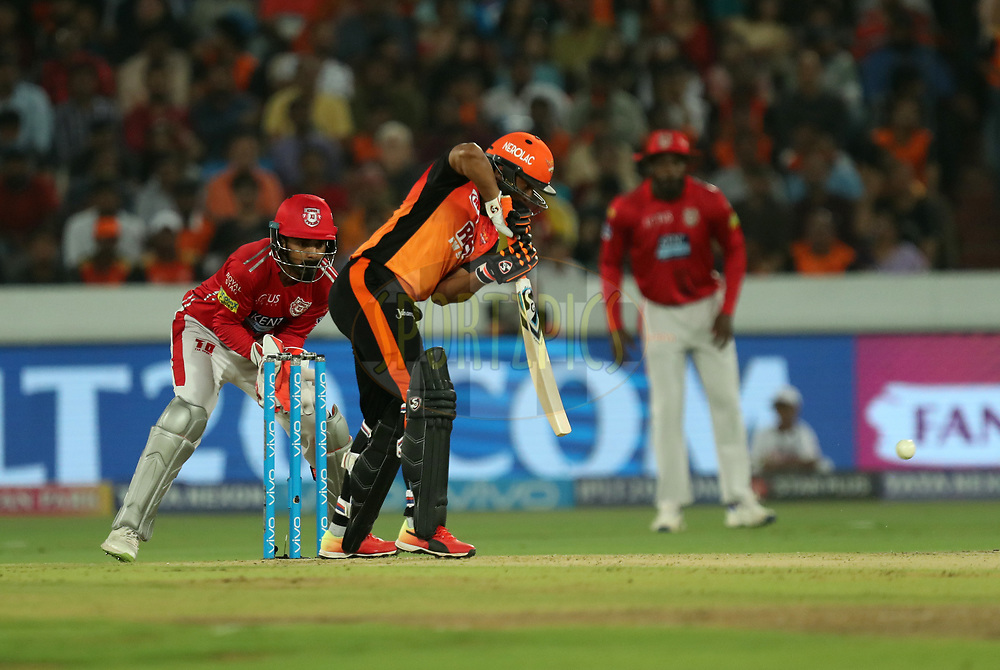 Shakib Al Hasan of Sunrisers Hyderabad during match twenty five of the Vivo Indian Premier League 2018 (IPL 2018) between the Sunrisers Hyderabad and the Kings XI Punjab  held at the Rajiv Gandhi International Cricket Stadium in Hyderabad on the 26th April 2018.<br /> <br /> Photo by: Prashant Bhoot /SPORTZPICS for BCCI
