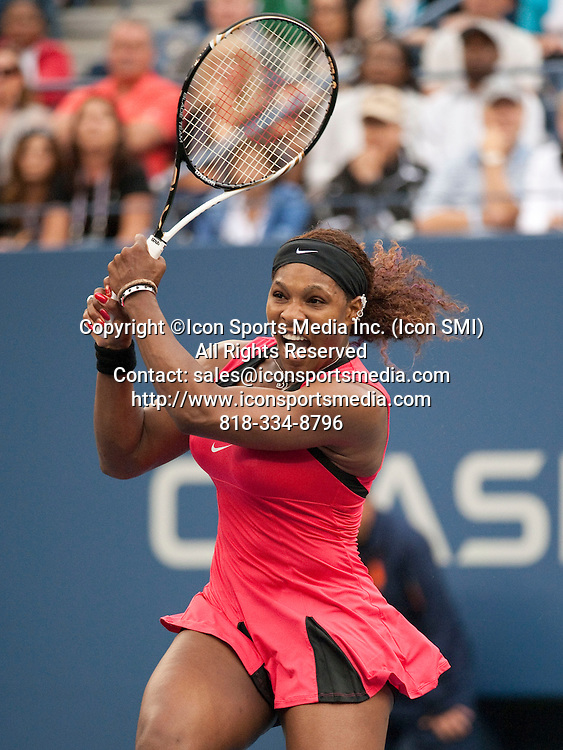 Sept. 11, 2011<br /> Serena Williams  in action during her 6-3, 6-2 loss to Australia's Samantha Stosur in the final of the US Open being played at the USTA Billie Jean King National Tennis Center, Flushing Meadow, NY