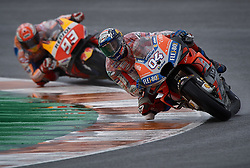 November 16, 2018 - Valencia, Spain - Andrea Dovizioso (4) of Italy and Ducati Team and Marc Marquez (93) of Spain and Repsol Honda Team during the free practice during the Gran Premio Motul de la Comunitat Valenciana of world championship of MotoGP at Ricardo Tormo Circuit in Valencia, Spain on 16th Nov 2018  (Credit Image: © Jose Breton/NurPhoto via ZUMA Press)