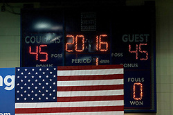 The scoreboard used as a backdrop for the May 11, 2016 campaign rally at  of Presumable Democratic Presidential Candidate Hillary Clinton referencing the upcoming president being the 45th. The public event is held at Camden County College, in Blackwood, Gloucester Township, NJ.