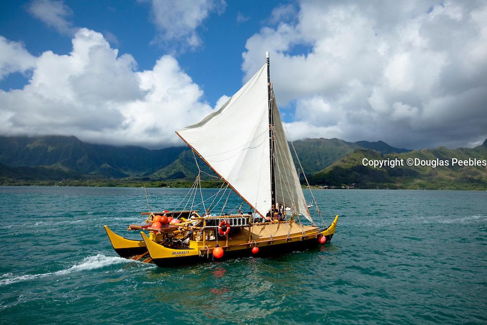 Makali'i, Hawaiian sailing canoe Kaneohe Bay, Oahu, Hawaii