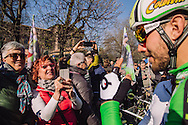Fans photograph Sonny Colbrelli of Bardiani CSF in Milano, Piazza Castello before the start of the 2016 Milano Sanremo n. 107° (296km)