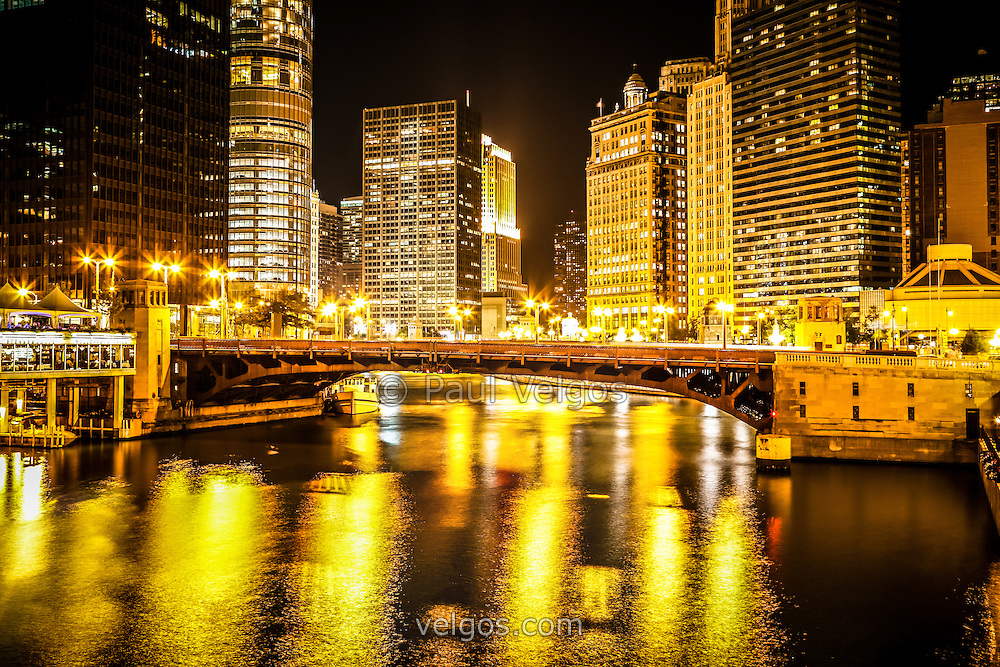 Picture of Chicago at Night with State Street Bridge | Buy Canvas ...